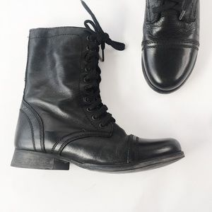 Steve Madden Black Leather Troopa Combat Boot 6